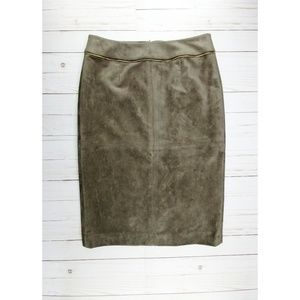 Calvin Klein   Soft Brown Faux Suede Pencil Skirt